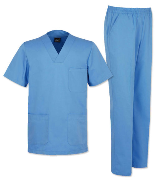 Pijama sanitario celeste unisex