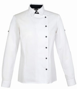 Blusa camisera manga larga abrochado lateral blanca mujer