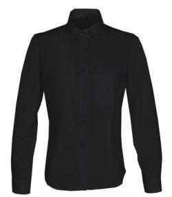 Blusa camisera manga larga negra mujer